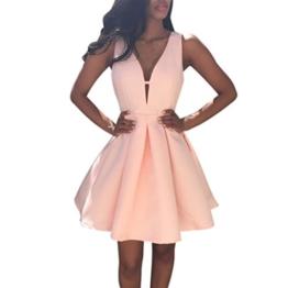 Elecenty Damen Ärmellos Abendkleider Tief V-Ausschnitt Sommerkleid Rückenfrei Partykleid Mädchen Kleider Frauen Kleid Minikleid Solide Chiffon Kleidung (S, Rosa) - 1