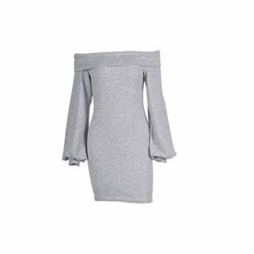 Elecenty Damen Langarmkleid Schulterfrei Partykleid Bodycon Minikleid Mantel Solide Rock Mädchen Kleider Frauen Mode Kleid Kleidung (S, Grau) - 6
