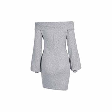 Elecenty Damen Langarmkleid Schulterfrei Partykleid Bodycon Minikleid Mantel Solide Rock Mädchen Kleider Frauen Mode Kleid Kleidung (S, Grau) - 7