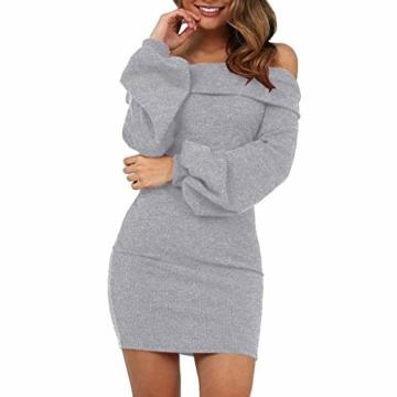 Elecenty Damen Langarmkleid Schulterfrei Partykleid Bodycon Minikleid Mantel Solide Rock Mädchen Kleider Frauen Mode Kleid Kleidung (S, Grau) - 1