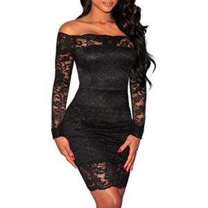 Elecenty Damen Partykleid Spitzekleid Schulterfrei Sommerkleid Solide Kleider Frauen Mode Langarm Knielang Kleid Minikleid Kleidung (XL, Schwarz) - 1