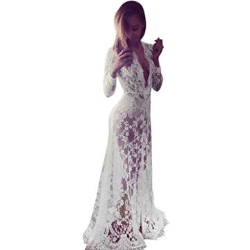 Elecenty Damen Solide Chiffon Bademode Sommerkleid Bikini Vertuschen Badeanzug Kleider Frauen Mode Lose Kleid Minikleid Langarm Kleidung Spitzekleid Strandkleid (S, Weiß) - 1