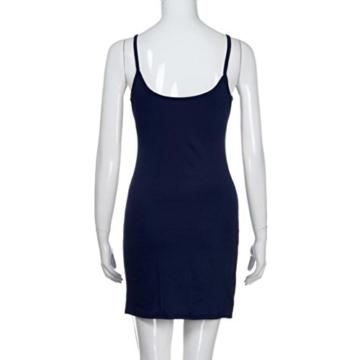 Elecenty Damen Sommerkleid solide Rock Mädchen Reizvolle Kleider Frauen Mode Ärmellos Kleid Hüfte Minikleid Kleidung Abendkleider Partykleid Hemdkleid Blusekleid Sweatshirt (L, Marine) - 7