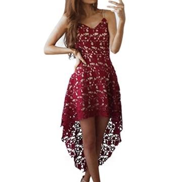 Elecenty Damen Swing Spitzekleid Sommerkleid Irregulär Brautjungfernkleid Abendkleider Partykleid Mädchen Kleider Frauen V-Ausschnitt Blumen Schulterfrei Ärmellos Kleid Minikleid Kleidung (M, Rot) - 1