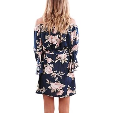 Elecenty Damen V-Ausschnitt Strandkleid Irregulär Sommerkleid Rock Mädchen Blumen Drucken Abendkleider Kleider Frauen Mode Ärmellos Kleid Minikleid Knielang Kleidung (L, Blau) - 2