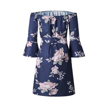 Elecenty Damen V-Ausschnitt Strandkleid Irregulär Sommerkleid Rock Mädchen Blumen Drucken Abendkleider Kleider Frauen Mode Ärmellos Kleid Minikleid Knielang Kleidung (L, Blau) - 3