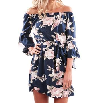 Elecenty Damen V-Ausschnitt Strandkleid Irregulär Sommerkleid Rock Mädchen Blumen Drucken Abendkleider Kleider Frauen Mode Ärmellos Kleid Minikleid Knielang Kleidung (L, Blau) - 1