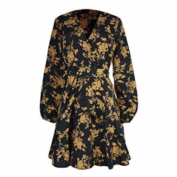 Elecenty Laternenhülse Minikleid Damen,Reizvolle Frauen Strandkleid Abendkleid Langarmkleid Tief V-Ausschnitt Partykleid Blumenmuster Halloween Hochzeitskleid Freizeitkleidung - 5
