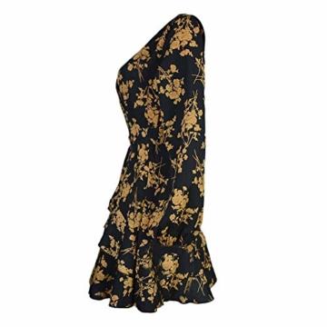 Elecenty Laternenhülse Minikleid Damen,Reizvolle Frauen Strandkleid Abendkleid Langarmkleid Tief V-Ausschnitt Partykleid Blumenmuster Halloween Hochzeitskleid Freizeitkleidung - 6