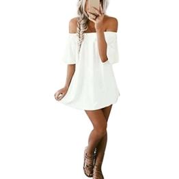 Elecenty Schulterfrei Sommerkleid Damen, Reizvolle Strandkleid Frauen Freizeitkleidung Kurzarm Kleid Lose Cocktailkleid Partykleid Minikleid Strandkleid Maxikleid (M, Weiß) - 1