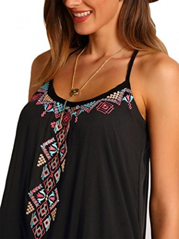 Elegant Damen Irregular Freizeitkleid Kimono Druckkleider Ethno-Style Minikleid Trägerkleid (XXL, Schwarz) -