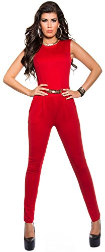 Eleganter Overall mit Goldschnalle in versch. Farben & Größen - Jumpsuit mit offenem Rücken (K6721) (S, Rot) - 1
