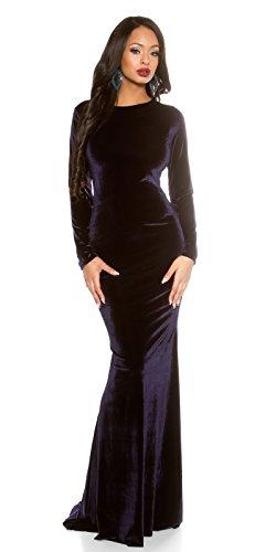 Elegantes Gala Maxikleid im Samtlook dunkelblau -