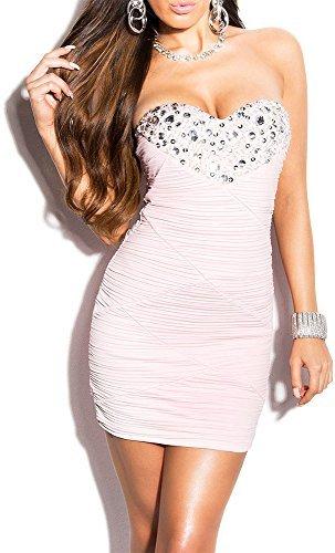 Elegantes KouCla Abendkleid gerafft und mit Steinbesatz in 7 Farben (One Size 34-38) Sexy Dekolletè Minikleid Partykleid (Rosa) - 1