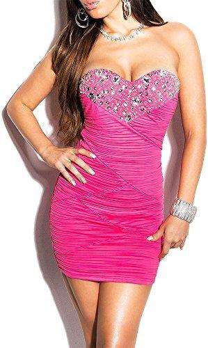 Elegantes KouCla Abendkleid gerafft und mit Steinbesatz in 7 Farben (One Size 34-38) Sexy Dekolletè Minikleid Partykleid (Pink) - 1