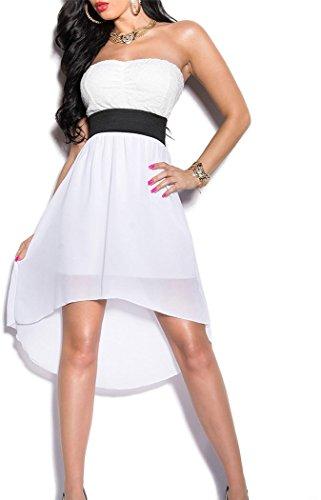 Elegantes KouCla Bandeau-Kleid mit Spitze in 7 fantastischen Farben (Einheitsgröße 34-38) Sexy Bustierkleid Minikleid (Weiss) - 1