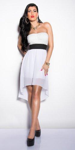 Elegantes KouCla Bandeau-Kleid mit Spitze in 7 fantastischen Farben (Einheitsgröße 34-38) Sexy Bustierkleid Minikleid (Weiss) - 3