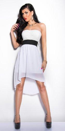 Elegantes KouCla Bandeau-Kleid mit Spitze in 7 fantastischen Farben (Einheitsgröße 34-38) Sexy Bustierkleid Minikleid (Weiss) - 4