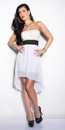 Elegantes KouCla Bandeau-Kleid mit Spitze in 7 fantastischen Farben (Einheitsgröße 34-38) Sexy Bustierkleid Minikleid (Weiss) - 5