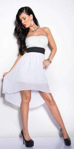 Elegantes KouCla Bandeau-Kleid mit Spitze in 7 fantastischen Farben (Einheitsgröße 34-38) Sexy Bustierkleid Minikleid (Weiss) - 6