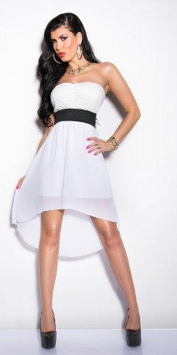 Elegantes KouCla Bandeau-Kleid mit Spitze in 7 fantastischen Farben (Einheitsgröße 34-38) Sexy Bustierkleid Minikleid (Weiss) - 7