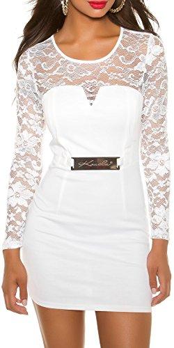 Elegantes KouCla Etuikleid mit Spitze - Langarm Abendkleid Minikleid Schwarz Weiss Rot S - XL (M (10), 1 Weiss) - 7