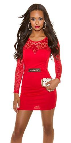 Elegantes KouCla Etuikleid mit Spitze - Langarm Abendkleid Minikleid Schwarz Weiss Rot S - XL (L (12), 3 Rot) - 1