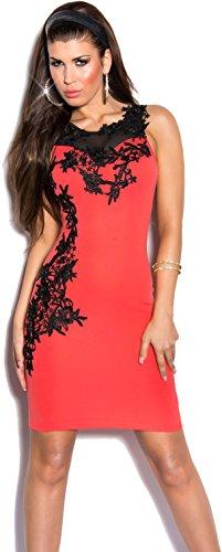 Elegantes KouCla Minikleid Abendkleid mit Stickereien & transparenten Einsatz - Versch. Farben Gr. S - L (K9103) (L, Coral) -