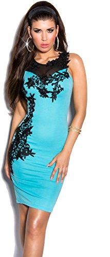 Elegantes KouCla Minikleid Abendkleid mit Stickereien & transparenten Einsatz - Versch. Farben Gr. S - L (K9103) (L, Babyblau) - 1