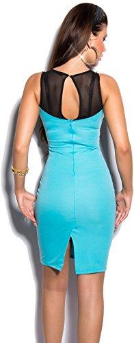 Elegantes KouCla Minikleid Abendkleid mit Stickereien & transparenten Einsatz - Versch. Farben Gr. S - L (K9103) (L, Babyblau) - 2