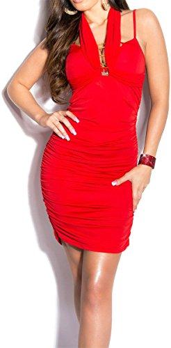 Elegantes KouCla Minikleid - Neckholder Abendkleid in 9 versch. Farben - Etui Kleid seitlich gerafft (Einheitsgröße) (6 Rot) - 1