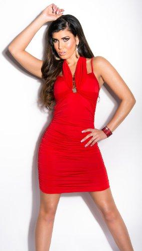 Elegantes KouCla Minikleid - Neckholder Abendkleid in 9 versch. Farben - Etui Kleid seitlich gerafft (Einheitsgröße) (6 Rot) - 3