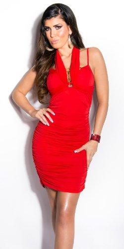 Elegantes KouCla Minikleid - Neckholder Abendkleid in 9 versch. Farben - Etui Kleid seitlich gerafft (Einheitsgröße) (6 Rot) - 4
