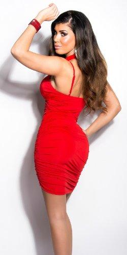 Elegantes KouCla Minikleid - Neckholder Abendkleid in 9 versch. Farben - Etui Kleid seitlich gerafft (Einheitsgröße) (6 Rot) - 5