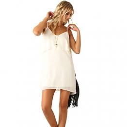 Eliacher Damen Casual Weiß mit Rüschen Beleg Kleid 6178 (S) -