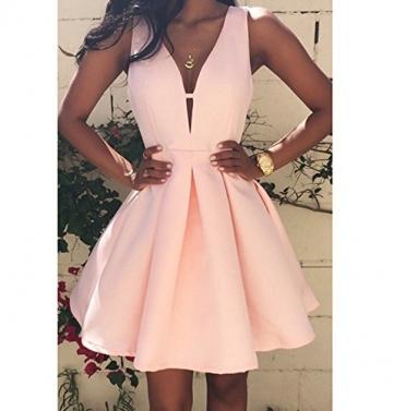EMIN Damen Sommer Kleid Tief V A-Line Abendkleid Cocktail Kleider Party Sexy Strandkleid Kleid Elegant -