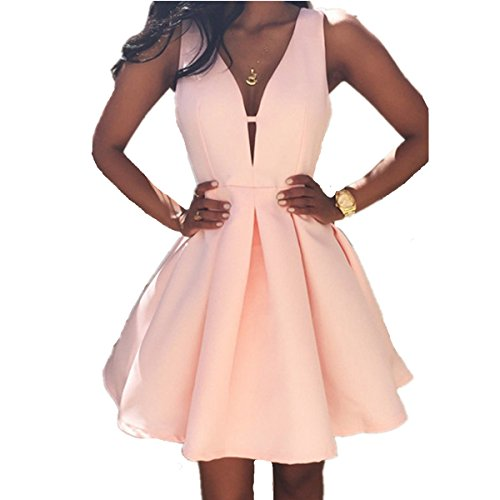 6c15222bdc4 EMIN Damen Sommer Kleid Tief V A-Line Abendkleid Cocktail Kleid - Sexy- Kleider.com