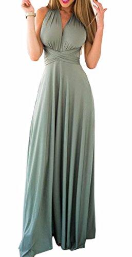 EMMA Damen Sexy Elgant V-Ausschnitt Rückenfrei Gefaltet Plisse Abendkleider Ärmellos Schulterfrei Cocktailkleid Abschluss Bandage Rücken Kreuz Brautjunfer Langes Sommer Party Kleid(LG,XL) - 1