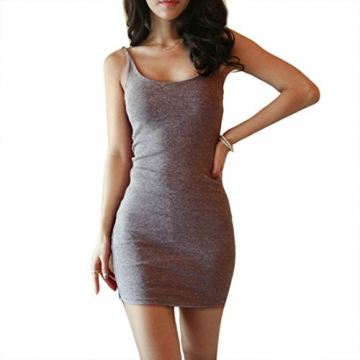 Encounter Damen Kleid Minikleid Partykleid Trägerkleid Bodycon Dress Langtop Shirt Bleistiftkleid Ärmellos (S, Grau) -