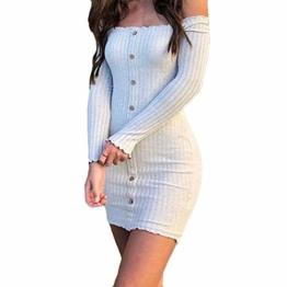 Enges modisches Langarm-Herbstkleid in Weiß