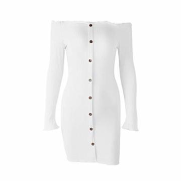 Enges modisches Langarm-Herbstkleid in Weiß 4