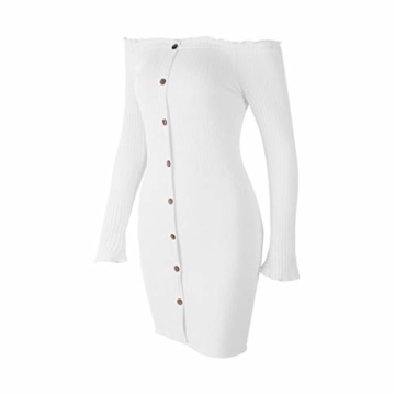 Enges modisches Langarm-Herbstkleid in Weiß 5