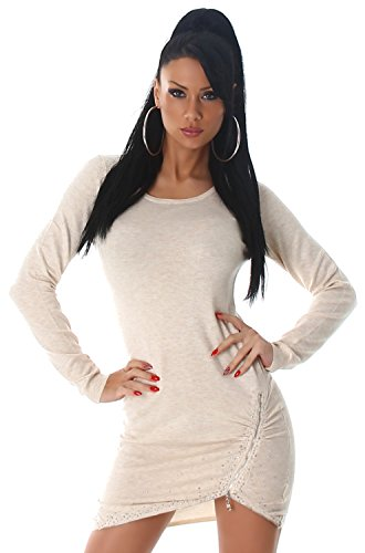 Enzoria Damen Strickkleid & Pullover mit Zierreißverschlüssen Einheitsgröße (32-38), beige - 2