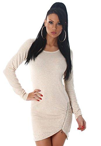 Enzoria Damen Strickkleid & Pullover mit Zierreißverschlüssen Einheitsgröße (32-38), beige - 3