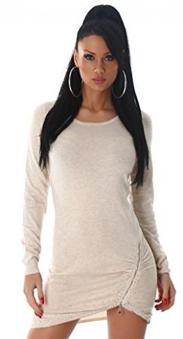 Enzoria Damen Strickkleid & Pullover mit Zierreißverschlüssen Einheitsgröße (32-38), beige - 1