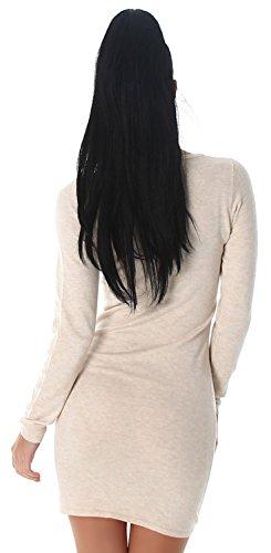 Enzoria Damen Strickkleid & Pullover mit Zierreißverschlüssen Einheitsgröße (32-38), beige - 4