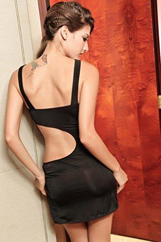EOZY Clubwear Mini Kleid Reizwäsche Dessous Ouvert Babydolls Paillette Schwarz -