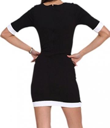 erdbeerloft - Damen asymetrisches Office Büro Mini-Kleid, raffiniert abgesetzt, , S-L, Schwarz -
