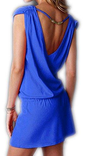ERGEOB® Damen tiefem V-Ausschnitt Öffnen Rückseite Strand Bikini Vertuschung Kleid Strand Rock Schwarz -