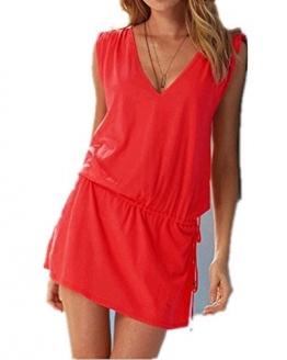 ERGEOB Damen tiefem V-Ausschnitt Öffnen Rückseite Strand Bikini Vertuschung Kleid Strand Rock Rot2 -